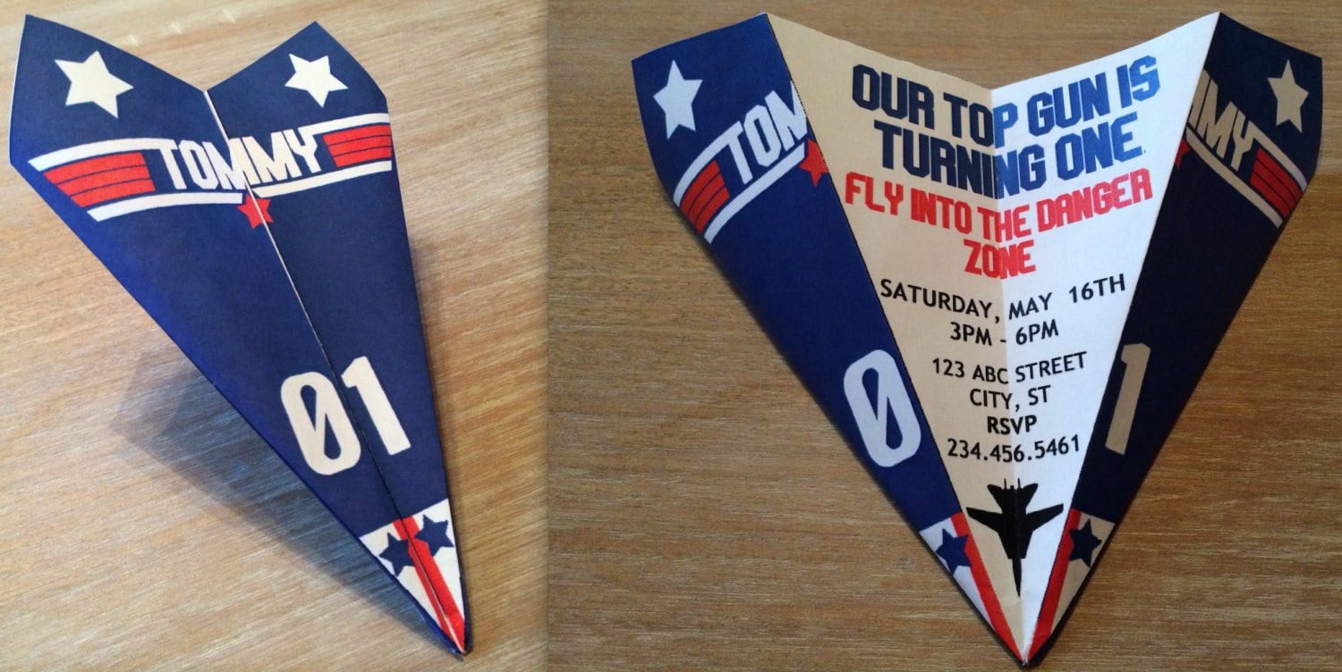 Top gun inspired paper airplane invitation personalize zoom filmwisefo Image collections