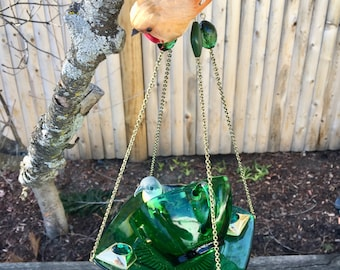 Upcycled Tea Cup Bird Feeder, Repurposed Bird Feeder, Green Glass Dish Feeder, Hanging Garden Art, Kitchen Window Decor, Mothers Day Gift