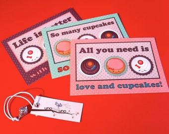 Set 3 postcards - I LOVE CUPCAKES