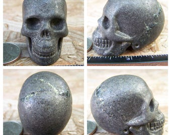"""1.99"""" 5.3oz 151.0g Pyrite Skull Realistic Crystal Healing Magical Magick Metaphysical Mystic Reiki Wicca Large 2 inch Brown Gold SK582"""