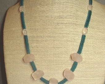 Rose Quartz on Teal Herringbone Necklace