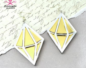 GEOMETRIC DIAMONDS - Dangle Earrings in Gold and Silver Mirrored Laser Cut Acrylic