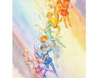 Fairy Greeting Card - Fairies Slide Down The Rainbow - Repro Margaret Tarrant