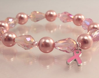 Breast Cancer Awareness Stretch Bracelet - Awareness Ribbon - Crystal and Pearl