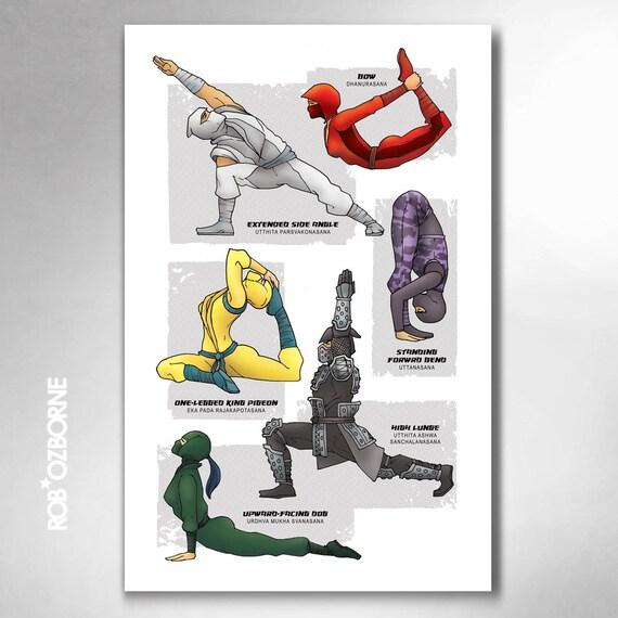 NINJA YOGA Super Pop Art Print 11x17 by Rob Ozborne