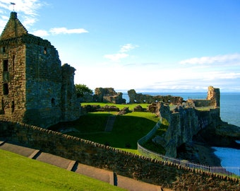 Travel Photography- The Ruins of St. Andrews Castle-Scotland - Scottish, Historic, British, UK, European, Nature, Fine Art Photography