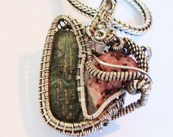 Handcrafted Topaz and Moldavite Sterling Silver Wire Wrapped Pendant.