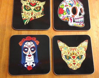 Sugar Skull coasters. Set of 4 hardboard. 9 cm square