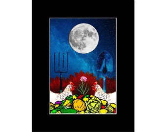 Garden and Farm Under the Full Moon, Art Print, Digital Collage, Several Sizes