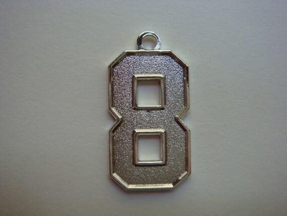 Number 8 jersey style sports necklace charm pendant 08 aloadofball Choice Image