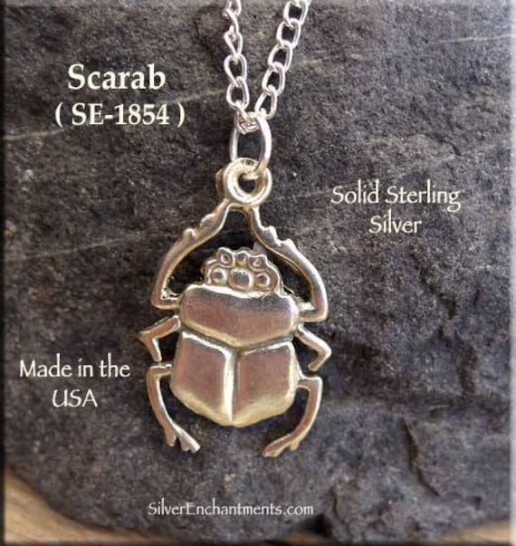 Sterling silver scarab pendant egyptian beetle necklace aloadofball Gallery