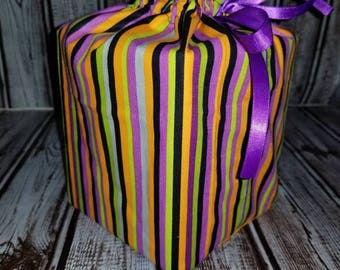 Homemade Halloween striped design fabric tissue box cover