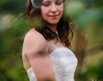 "Small (12"") Bandeau Birdcage Veil : V002 made to order, white, ivory, champagne, or black"