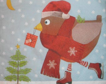 071 winter bird napkin