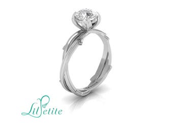 nature inspired engagement ring, leaf engagement ring, twisted twig band, unique alternative ring, forever one moissanite ring