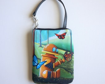 Bot And The Butterflies - by Cindy Thornton Art - Robot Smart Bag Mini Wristlet