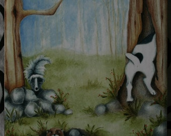 "Dog skunk ground hog Print on wood, 3.5"" x 3.5"", Jack Russell Terrier pet art Deb Harvey mini gift stocking stuffer"