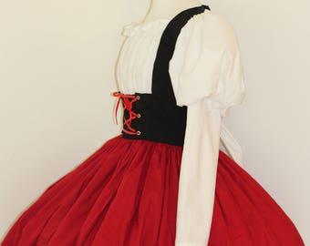 Heidi Swiss Miss German Barmaid BAr Maid Victorian Girl Dress Costume Halloween Cosplay Leg O Mutton Sleeves Custom Size including Plus Size