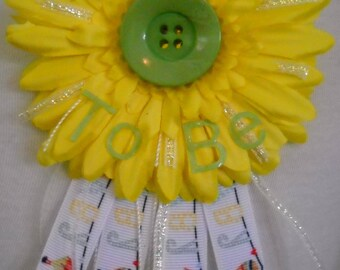 Cute as a button baby shower corsage