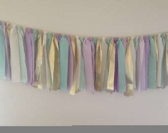 Mint, seafoam green, lavendar, purple, cream and gold fabric rag garland