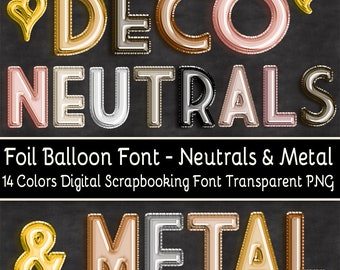 20% OFF Foil Balloon Font Art Deco Neutrals and Metals - Set of 14 Colors