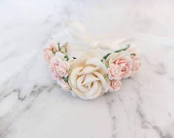Wedding flower wrist corsage - ivory blush bridal accessories flower girls bridesmaids - flower bracelet