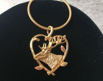 Black hills gold deer pendant