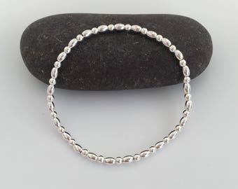 Sterling silver bracelet, silver bead bracelet, minimal silver stretch bracelet, sister gift, daughter gift, birthday gift, minimalist