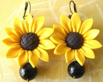 Sunflower Earrings Flower Jewelry Yellow Earrings Sunflower Jewelry Dangle Earrings
