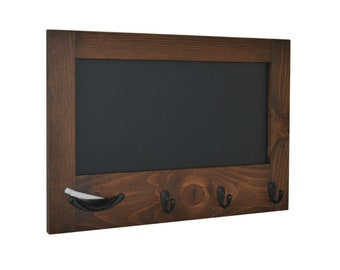 Ellie Small Farmhouse Cottage Chalkboard with Key hooks - Entryway Wall Chalkboard with Stained Finish