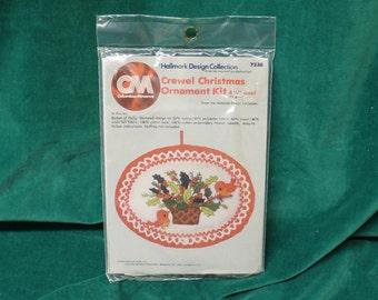 """Columbia-Minerva Hallmark Crewel Christmas Ornament Kit """"Basket of Holly"""" 7238 Vintage 1976 New & Unused makes 4.5"""" oval ornament"""