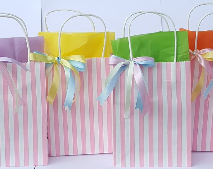 Childrens candy stripe party favour bags with tissue paper