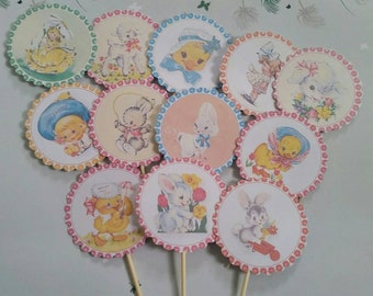 12x Easter Cupcake Toppers , Cake Toppers , Food Picks , Vintage