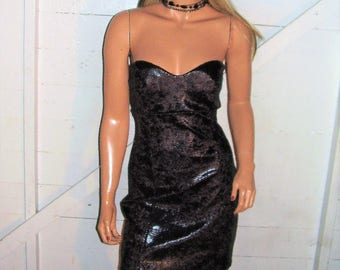 Black Faux Snakeskin Strapless Dress M