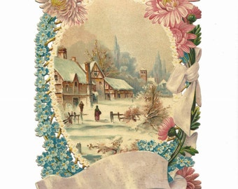 Large Antique Victorian Christmas Diecut Card Salesman's Sample with Winter Scene 6x9 Forget Me Nots & Mums Chromolithograph Pink ~ 5367Pb