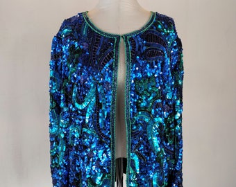 Bright Blue & Green Sequin Cardigan Jacket Top Glam 2X