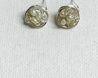 Freshwater Pearls And Crystals Silver Wire Crochet Stud Earrings