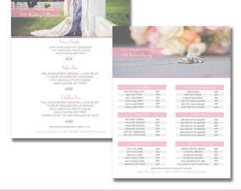 Sell Sheet & Product Pricing Templates Packages Photography Marketing Template 8.5x11 Wedding Elegant Flyer Layered Photoshop Template