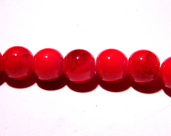 50 glass marble - 8 mm beads - red bright slightly mottled Brown - PG77
