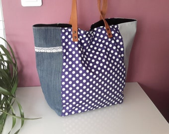 Retro chic blue Tote with polka dots