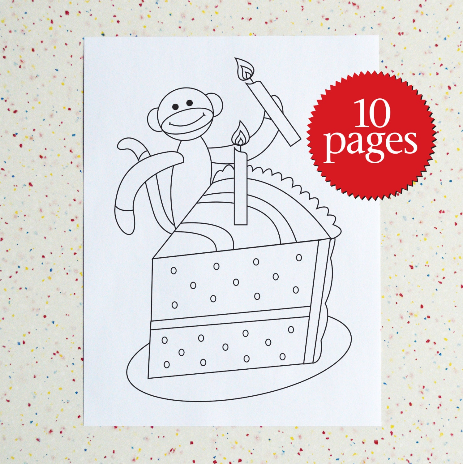 Colouring Pages - Birthday Sock Monkey - Birthday - Coloring Book ...