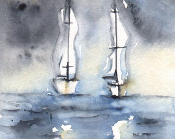 Fridge Magnet Featuring Unique Original Artwork - 'Sail Away'. Ideal gift for Storms, Sea, Sailing or Boat Lover