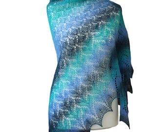 blue handknit shawl made of estonian wool, lace turqouise scarf, woolen wrap