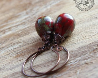 Fairy Drop Earrings in Red. Simple Rustic Everyday Czech Glass Hoop Drop Earrings in Lichen With Sterling Silver or Copper.