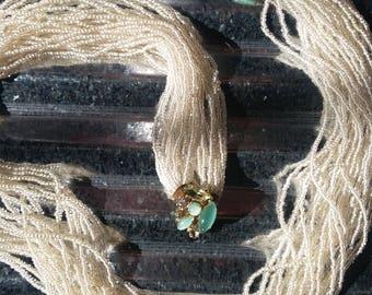 Valjean Spun Sugar Necklace-Vintage Valjean Spun Sugar Torsade Necklace-Vintage White Torsade-Rhinestone White Glass Seed Bead Torsade