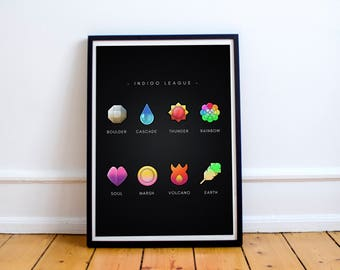 Pokemon Badges - Cool gift - Pokemon Badges from Indigo League - Top Selling Gifts
