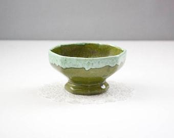 Vintage Pottery Planter, Emerald Green Drip Glaze