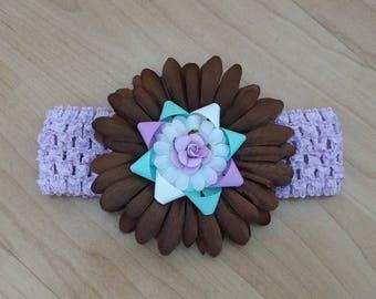 Baby Girl Headband, Flower Headband, Spring Flower Bow, Baby Hair Accessory, Infant Headband, Baby Headband, Toddler Headband, Rose Headband