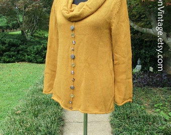 VINTAGE SWEATER, Handknit Cowlneck Sweater, Knit Tunic Top, Vintage 90s Boho, whimsical BUTTONS! cozy Autumn sweater, citrine mustard yellow