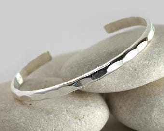 Wide Hammered Silver cuff, sterling silver custom layering bracelet from the Ophelia Collection